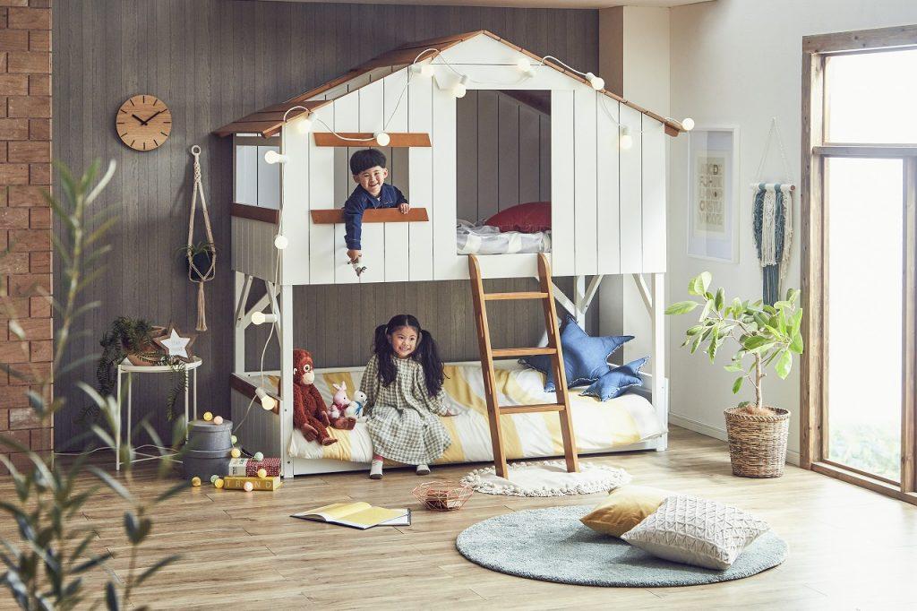 キッズ向けハウス型ベッド「僕たちの秘密基地-プティ・アパート-」イメージ写真